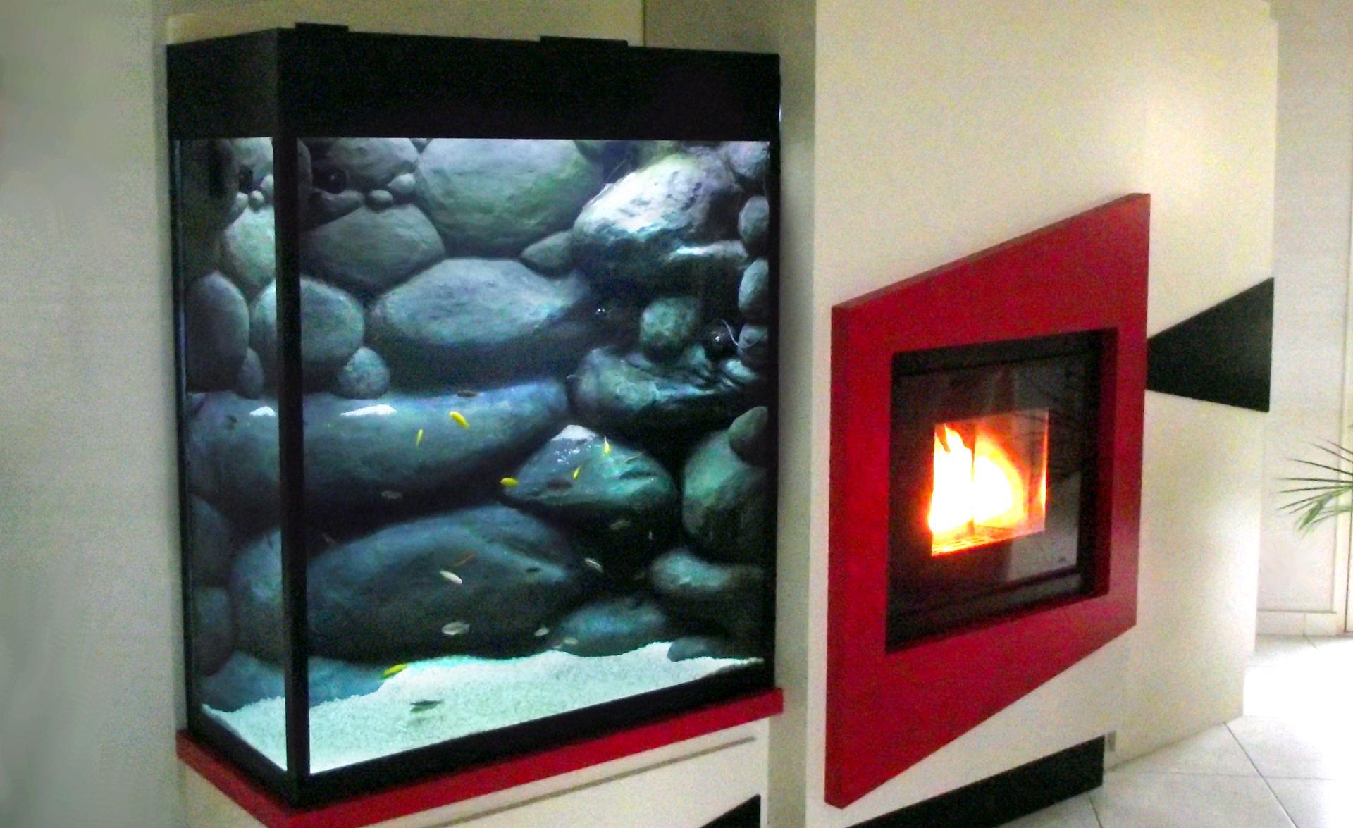 Aquarium avec décor rocheux sculpté sur mesure, pour poissons africains, à Beaupreau (49)